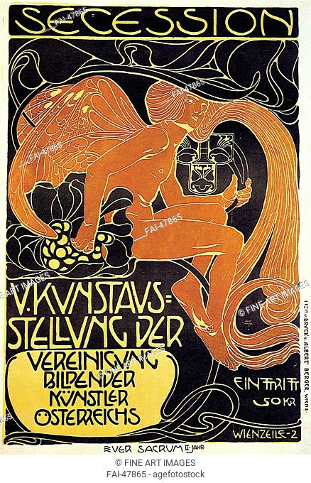 Vienna Secession, Fifth Exhibition poster by Moser, Koloman (1868-1918)/Colour lithograph/Art Nouveau/1899/Austria/Private Collection/Poster and Graphic...