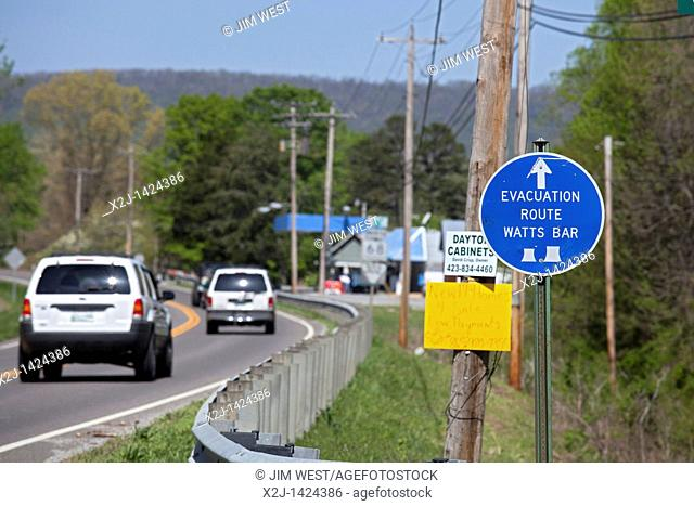 Spring City, Tennessee - A sign on Tennessee Route 68 marks the evacuation route in case of an emergency at the Tennessee Valley Authority's Watts Bar Nuclear...