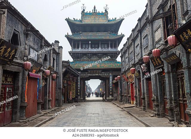 China, Shanxi Province, Pingyao City (W. H. ), South Street, Market Tower