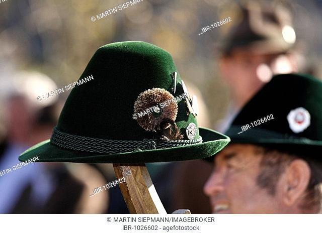 Traditional hat, Leonhardifahrt, the feast day of Saint Leonard of Noblac, Kreuth, Tegernsee Valley, Upper Bavaria, Germany, Europe