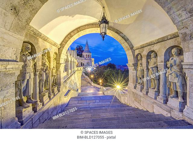 Statues along corridor at dusk, Fisherman's Bastion, Budapest, Hungary