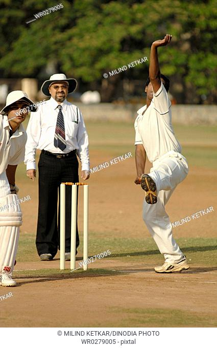 Indian fast bowler in action of bowling in cricket match MR705G705H705L