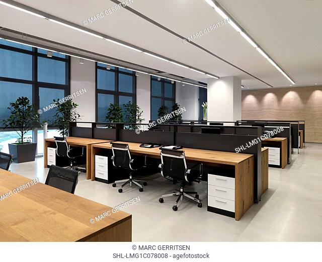 Chairs at desk in office