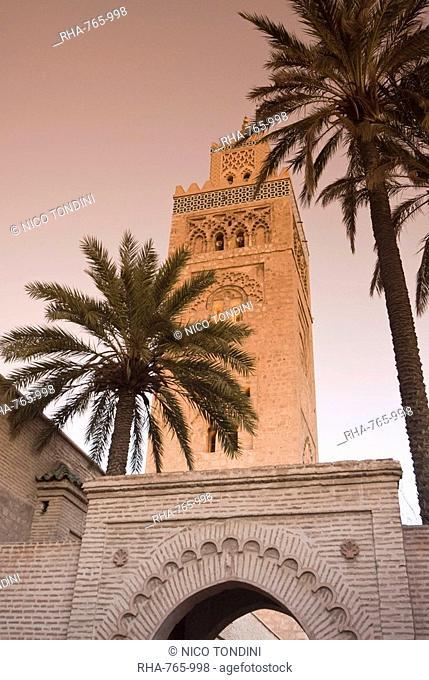 Minaret of the Koutoubia Mosque, UNESCO World Heritage Site, Marrakesh Marrakech, Morocco, North Africa, Africa