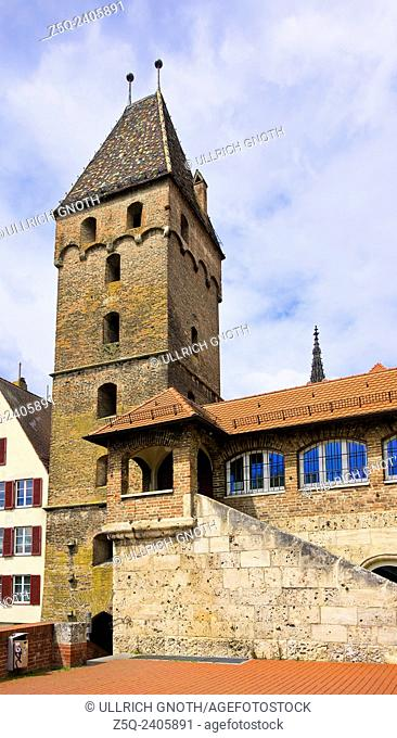 The Metzgerturm tower of Ulm, Germany, also known as the Leaning Tower of Ulm