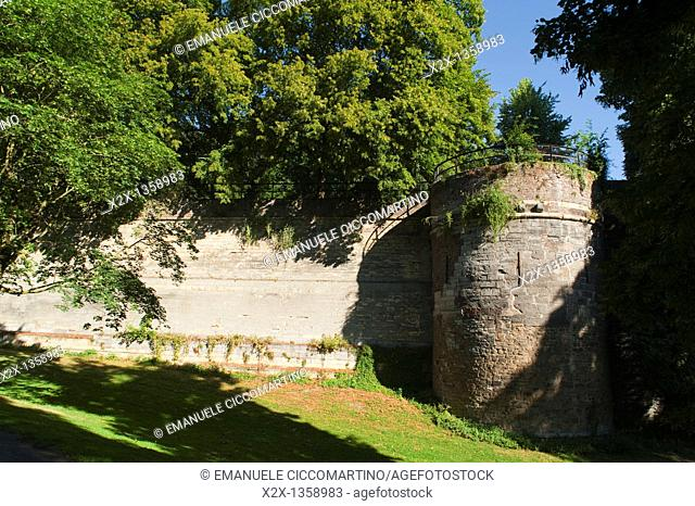 Second Medieval City Wall, year about 1350, Aldenhof Park, Maastricht, Limburg, The Netherlands, Europe