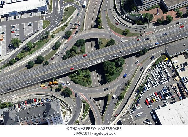 Roundabout, Saarplatz in the inner-city of Koblenz, Rhineland-Palatinate, Germany, Europe
