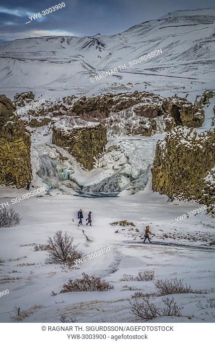 Ofaerufoss Waterfall, Thjorsardalur Valley, Iceland