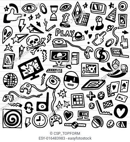 computer games - doodles set