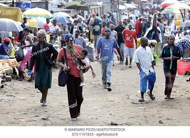 People at the Fajardo Market in Maputo, Mozambique