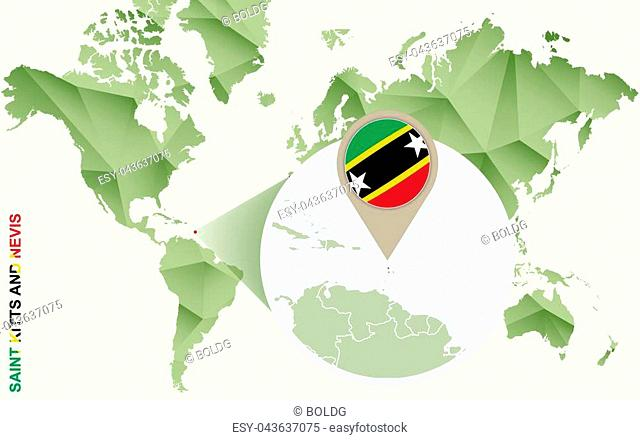 Infographic for Saint Kitts and Nevis, detailed map of Saint Kitts and Nevis with flag. Vector Info graphic green map