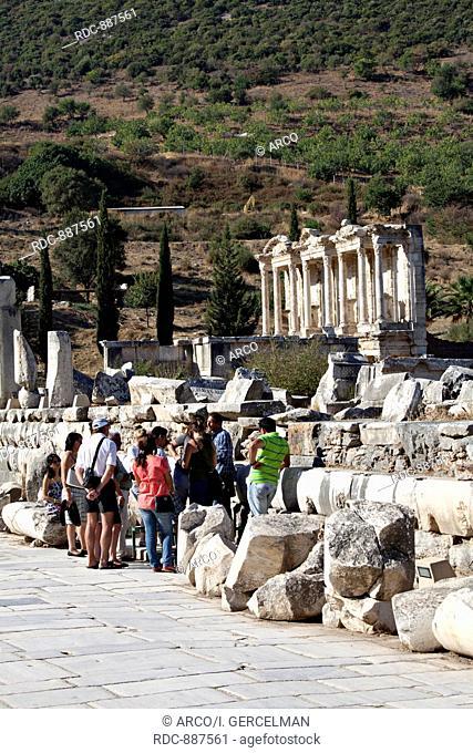 The library of Celsus is an ancient building in Ephesus, Izmir, Turkey / Caption: Izmir, Turkey - September, 25th 2011: People visit the library of Celsus in...