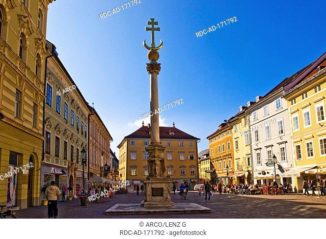 Trinity column and plague column, Alter Platz, Klagenfurt, Carinthia, Austria