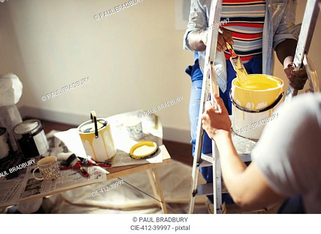 Women with yellow paint painting living room