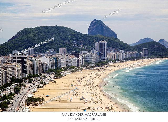 Copacabana from above looking towards Sugarloaf Mountain; Rio de Janeiro, Brazil