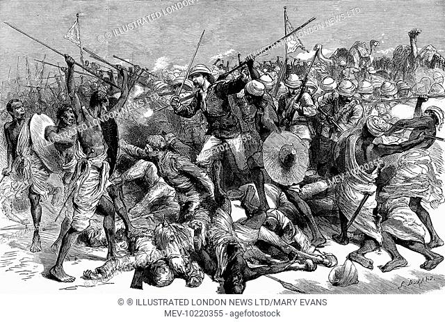 Engraving showing the death of Colonel Frederick Burnaby (1842-1885), the English soldier and explorer, at the Battle of Abu Klea Wells, Sudan, 17 January 1885