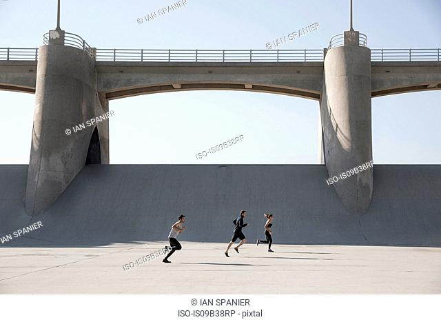 Athletes jogging, Van Nuys, California, USA