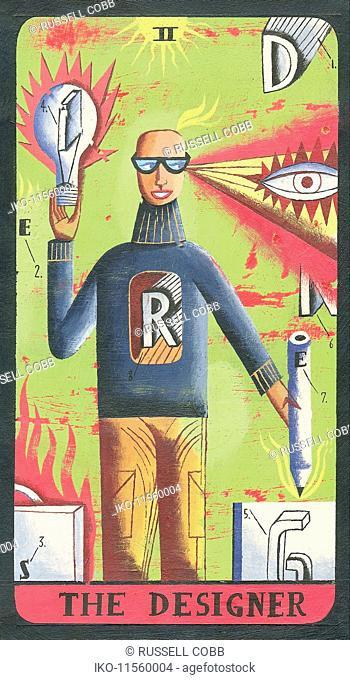 Tarot card depicting man with pencils as 'the designer'
