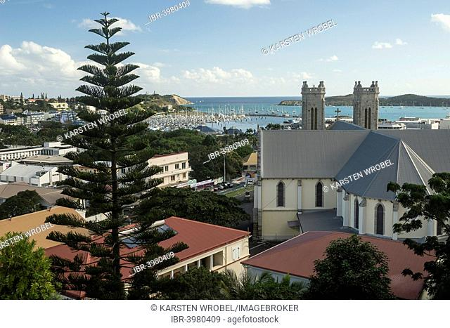 View across the harbour and Saint-Joseph Cathedral, Noumea, Grande Terre, New Caledonia