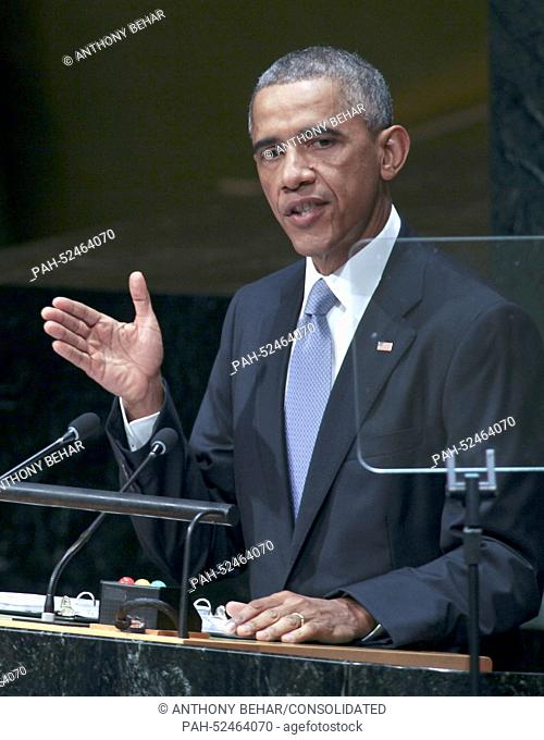 United States President Barack Obama addresses the United Nations 69th General Assembly at UN Headquarters in New York, New York on Wednesday, September 24