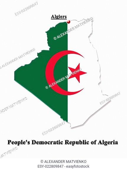 Map of Algeria in colors of its flag in English isolated