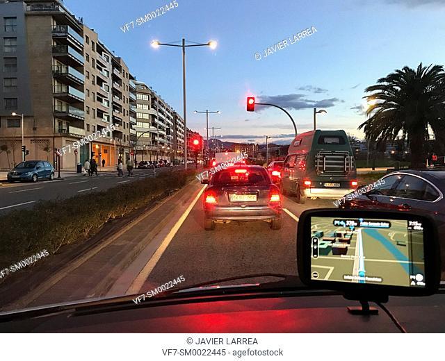Driving car with GPS navigator, Paseo Ribera de Loiola, San Sebastian, Donostia, Gipuzkoa, Basque Country, Spain, Europe