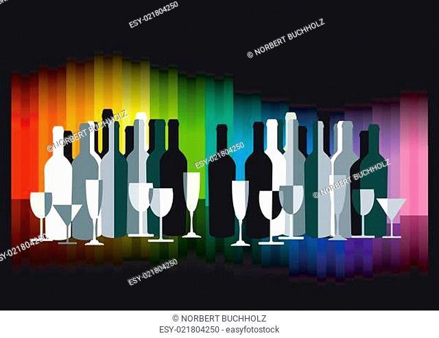 Farbige Bar mit Flaschen und Gläsern auf Schwarz