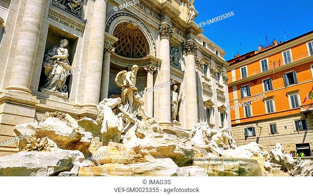 Trevi Fountain, largest Baroque fountain in the city and one of the most famous fountains in the world located in Rome, Italy