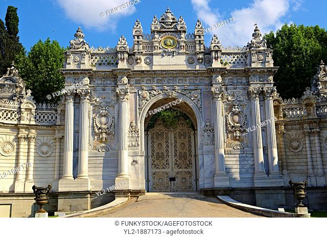 The Ottoman style eceletic mix of Baroque & neo-Classical style Architecture of the gate of the Dolmabahçe Dolmabahce Palace, built by Sultan