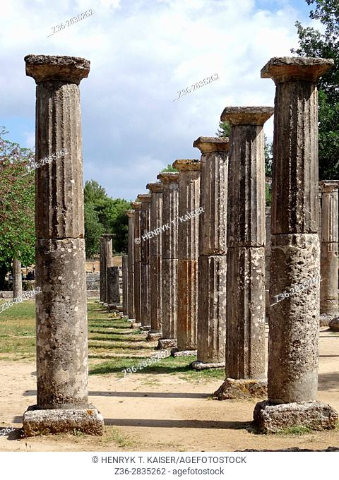 Columns of Palaestra at the sanctuary of Olympia, Greece