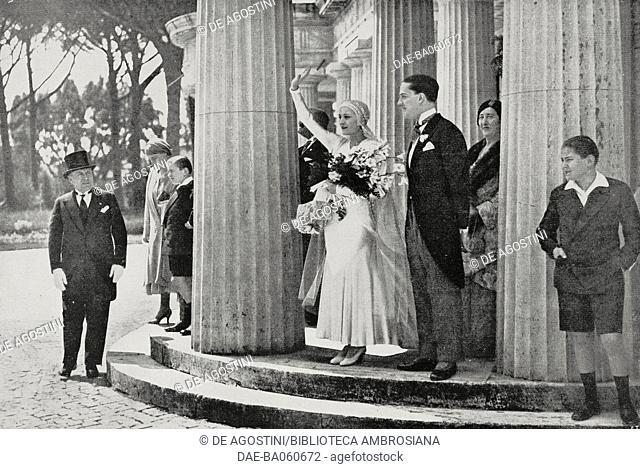 Edda Mussolini (1910-1995) and Galeazzo Ciano (1903-1944) at Villa Torlonia, Rome, Italy, right before marriage ceremony, photo by A Bruni