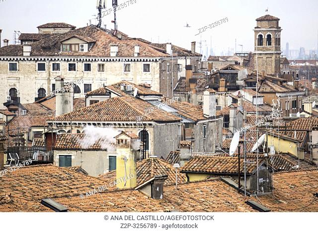 Venice, Veneto, Italy: Aerial view from the top of Fondaco dei Tedeschi, luxury department store terrace