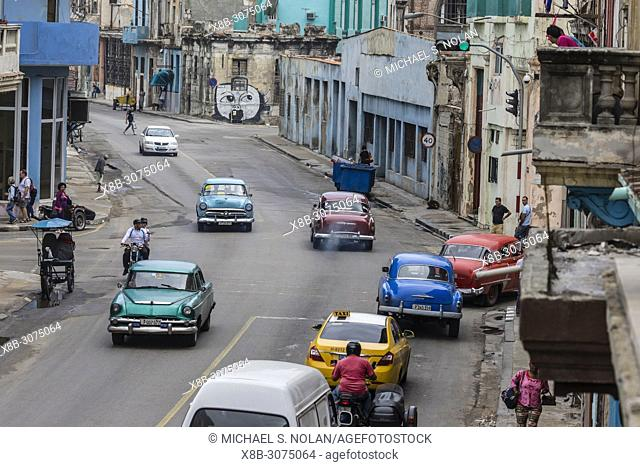 "Classic American cars being used as taxis, locally known as """"almendrones"""" in Havana, Cuba"