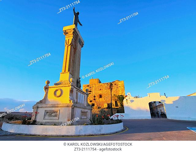 Christ Monument in front of the Monastery on the top of El Toro Mountain - the highest peak of Menorca, Balearic Islands, Spain