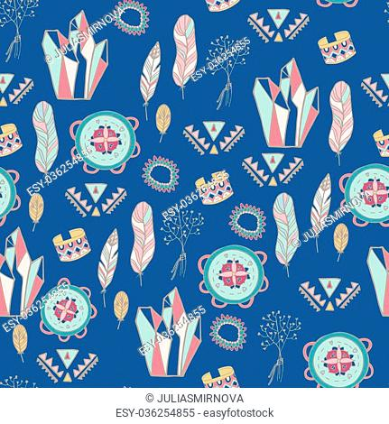 Boho style seamless vector patter. Summer fest design. Young and free