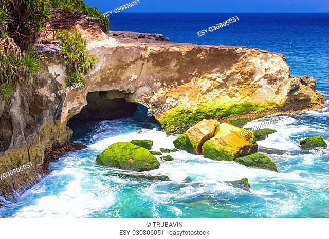 Tropical Coastline of Lembongan island.Indonesia