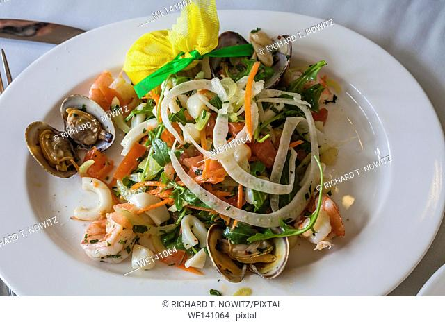 Seafood and vegetable salad in restaurant in Palm Beach, Florida
