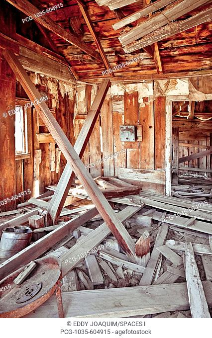 Interior of Collapsing Wooden Shack