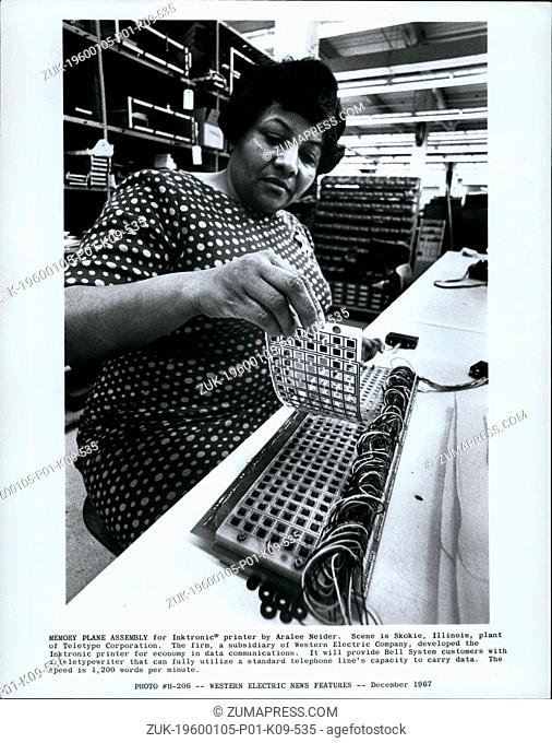 1968 - Blocked by grey box Memory Plane Assembly for Inktronic; printer by Aralee Neider. Scene in Skokie, Illinois, plant of teletype corporation