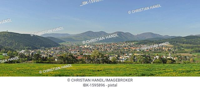 View of Berndorf, Kremesberg mountain, Triestingtal valley, Lower Austria, Europe
