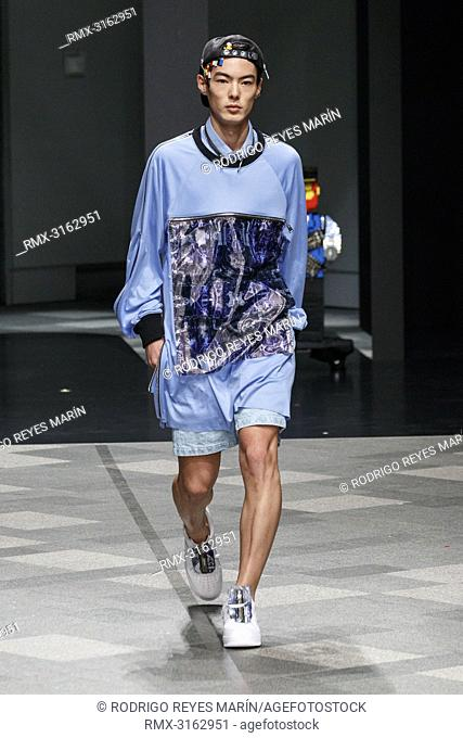 October 17, 2018, Tokyo, Japan - A model wearing fashion brand ACUOD by CHANU walks down the catwalk during the Amazon Fashion Week TOKYO 2019 S/S collection at...