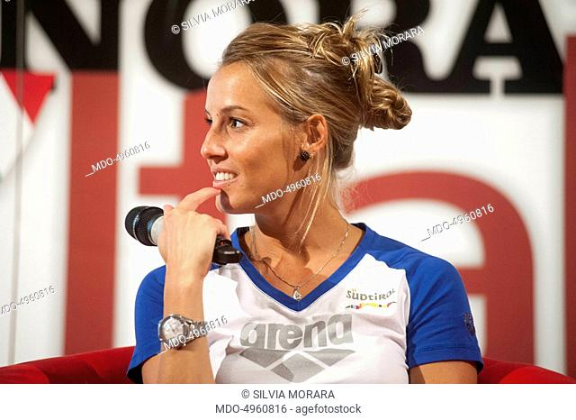 The retired diver Tania Cagnotto being interviewed by the editor in chief of Chi Alfonso Signorini and the editor in chief of Panorama Giorgio Mulè during the...
