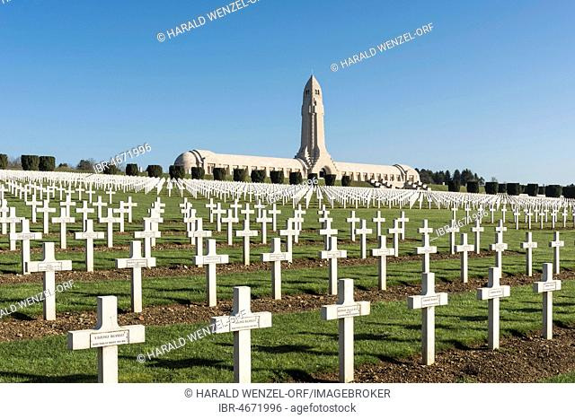 National military cemetery of fallen soldiers during World War I, Douaumont charnel house, Verdun, France