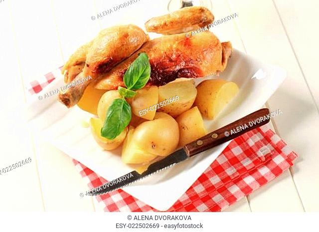 Roast chicken and potatoes