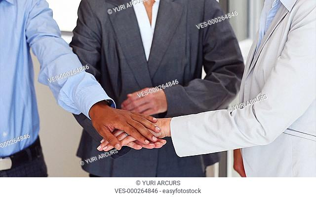 Business team puts their hands together in union