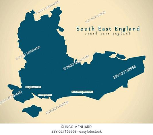 Modern Map - South East England UK Illustration