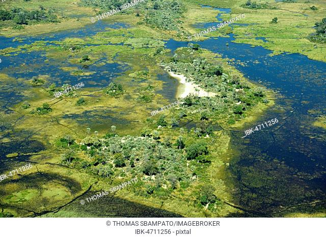 Wetlands, freshwater marshland with canals and islands, aerial view, Okavango Delta, Moremi Game Reserve, Botswana