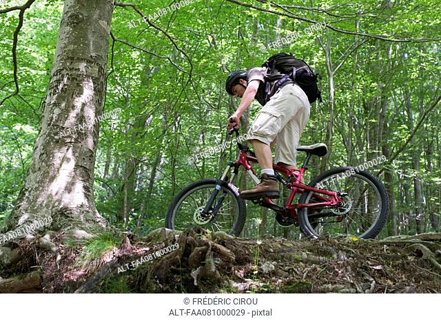 Young man riding mountain bike in woods, low angle view