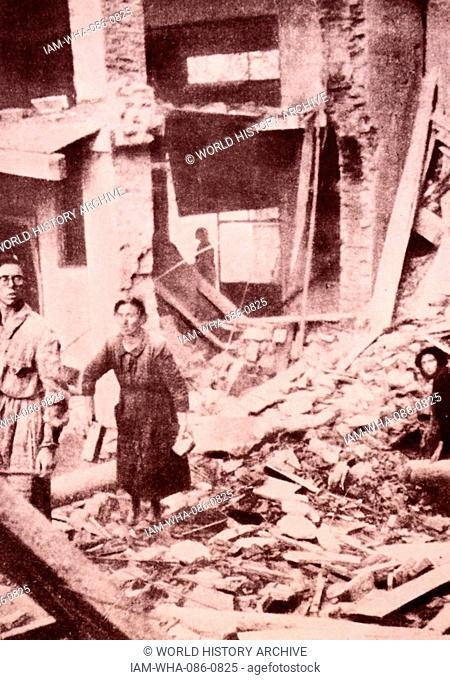 Photograph showing the destruction following the bombing of Milan. Dated 20th Century