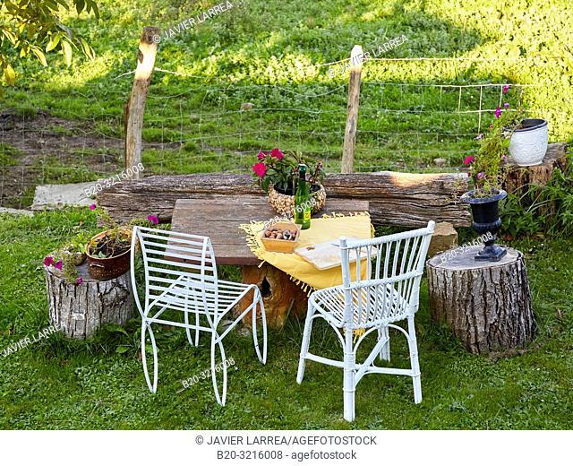 garden lounger, Urain Apartments, Basque farmhouse, Deba, Gipuzkoa, Basque Country, Spain, Europe